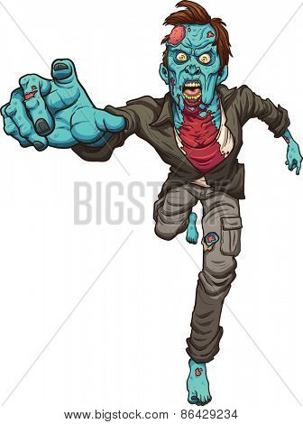 Running zombie. Vector clip art illustration with simple gradients. All in a single layer.