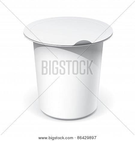 Realistic White blank plastic container for yogurt, jams and other products. Vector illustration