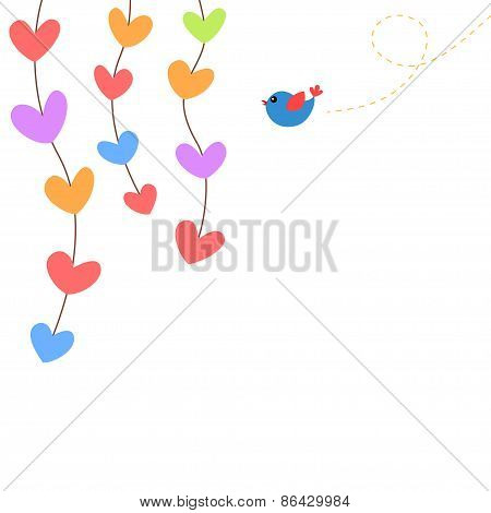 Hearts and bird