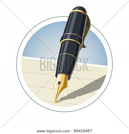 Ink pen. Eps10 vector illustration. Isolated on white background