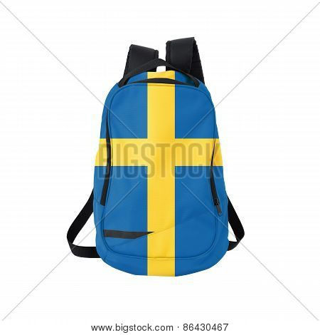 Sweden Flag Backpack Isolated On White