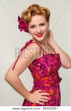 Beautiful Retro Style Woman In Vintage Dress