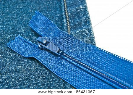 Blue Denim With Zipper