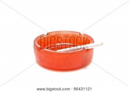 Cigarette In Ashtray Closeup