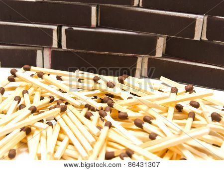 Matches And Many Matchbox On White