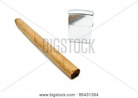 Cigar And Metal Lighter