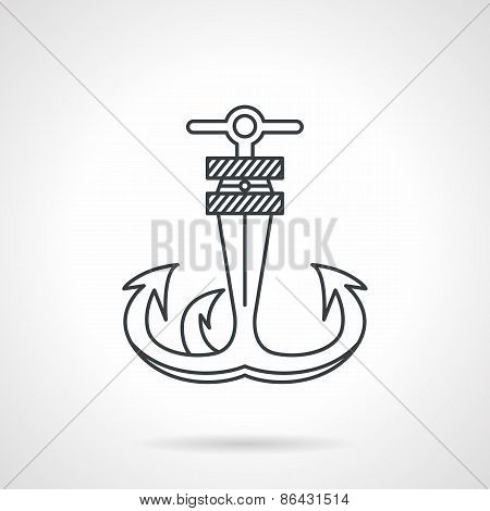 Anchor black line vector icon