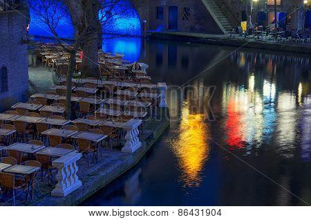 Oudegracht Area At Night In Utrecht
