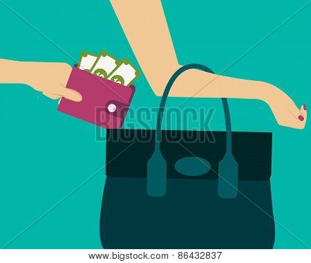Stealing a purse with money from handbag. Vector illustration