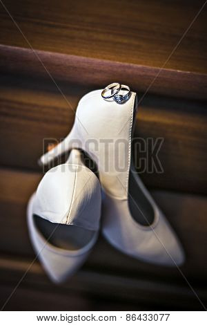 Wedding Rings And Shoes Bride
