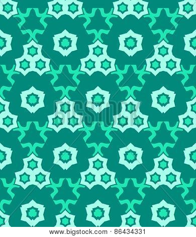 Psychedelic Abstract Colorful Green Cyan Seamless Pattern.