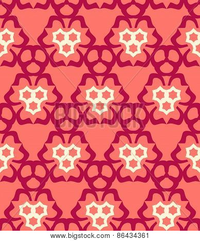 Psychedelic Abstract Colorful Red Cream Pink  Seamless Pattern.