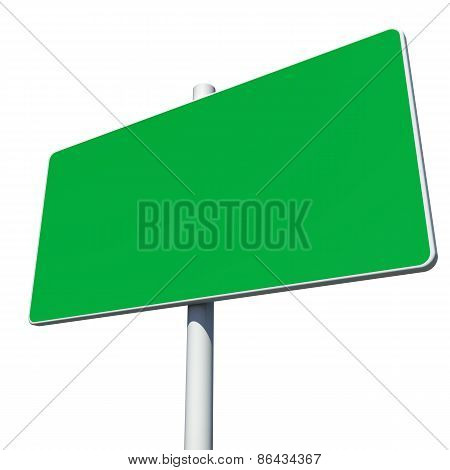 Rectangle green road sign. Isolated