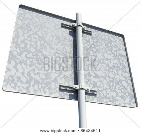 Rectangle road sign. Rear view. Isolated
