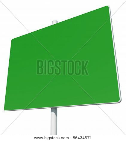 Big rectangle green road sign. Isolated