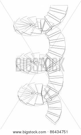 Wire-frame spiral stairs. Perspective view. Isolated