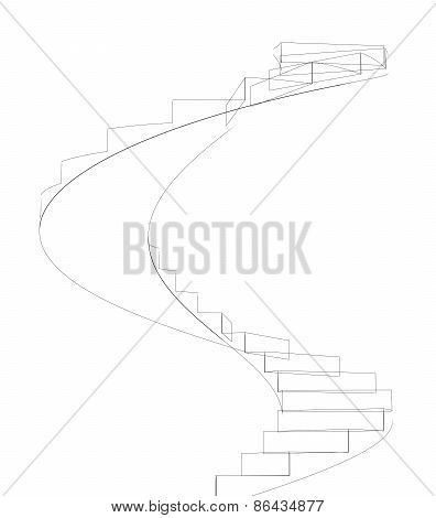 Wire-frame spiral stairs. Isolated. Promotion concept