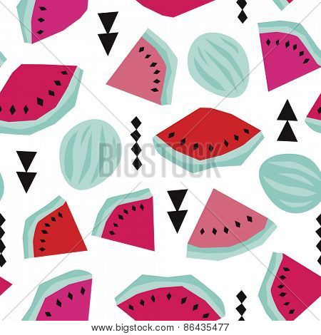 Seamless geometric summer water melon fruit colorful abstract illustration background pattern in vector