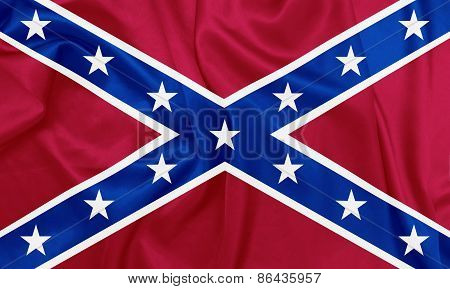 American Civil war - The Second Confederate Navy Jack, 1863-1865 waving flag with silk texture