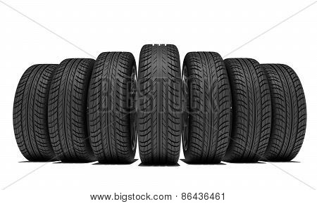 Wedge of new car wheels. Isolated on white background