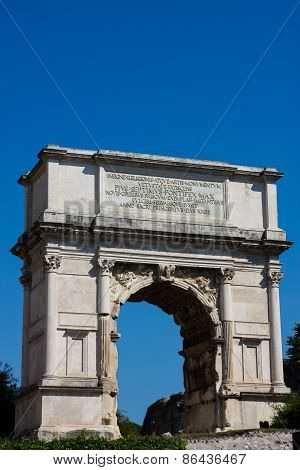 Triumphal Arc At Roman Forum In Rome, Italy