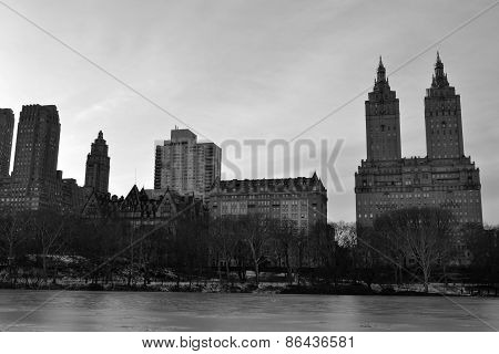 San Remo apartments in winter and black and white