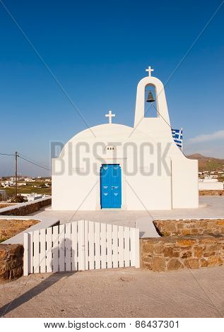 The Classic White Church On The Island Of Mykonos. Greece.