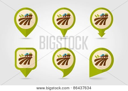 Tractor On Field Harvest Seedling Flat Mapping Pin Icon