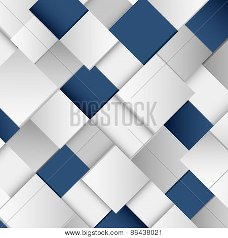 Abstract White And Blue Square Background