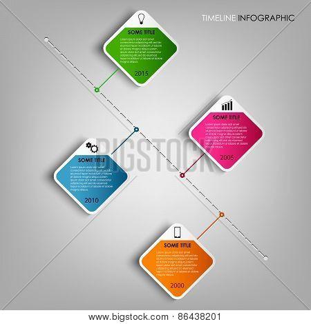 Time Line Info Graphic Colored Square Design Element