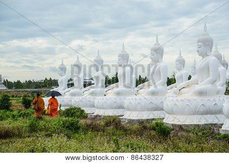 Group Of White Buddha Image