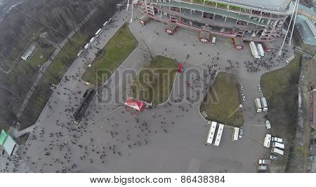 MOSCOW, RUSSIA - MAR 30, 2014: Aerial view of the crowd near Locomotive sports stadium.