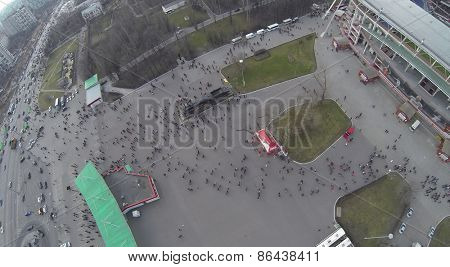 MOSCOW, RUSSIA - MAR 30, 2014: Aerial view of the crowd near Locomotive sports stadium in Moscow.