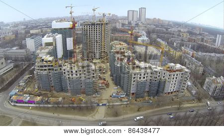 MOSCOW, RUSSIA - MAR 02, 2014: Aerial view of new high buildings with green building grid at Vinogradnyi complex.