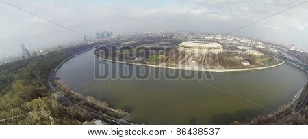 MOSCOW, RUSSIA - FEB 26, 2014: Cityscape with soccer complex Luzhniki at sunny day. Aerial view