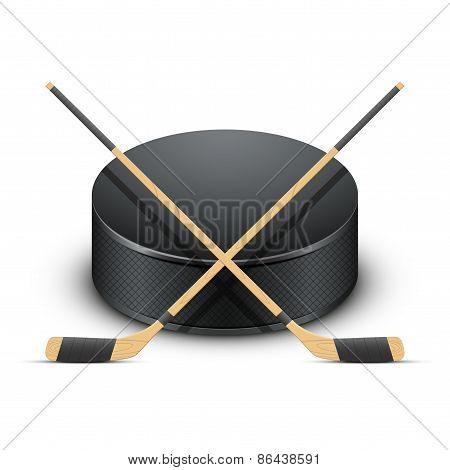 Ice Hockey puck and sticks. Vector.
