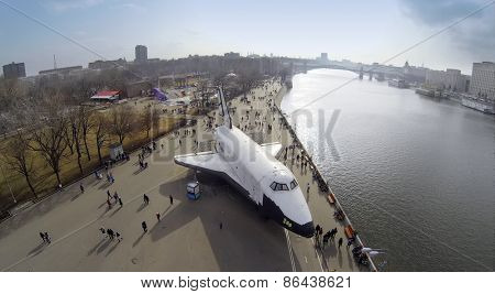 MOSCOW, RUSSIA - MAR 08, 2014: Aerial view of the Buran space shuttle in Gorky Park.