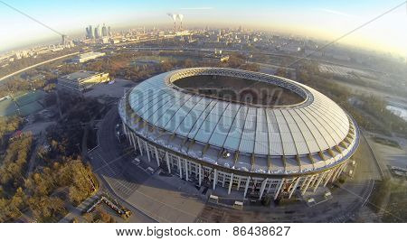 MOSCOW - FEB 26, 2014: Cityscape with reconstruction of soccer complex Luzhniki at sunny day. Aerial view