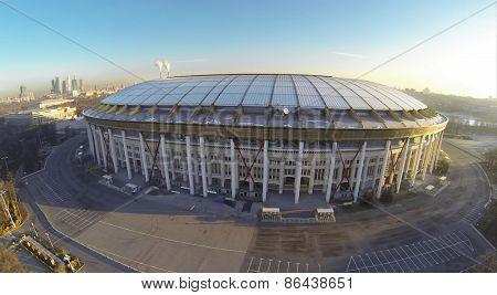 MOSCOW, RUSSIA - FEB 26, 2014: Aerial view of sports stadium Luzhniki.