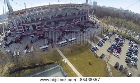 MOSCOW, RUSSIA - MAR 30, 2014: Aerial view of  Locomotive sports stadium.