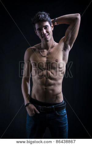 Handsome Muscular Shirtless Young Man Standing Smiling C