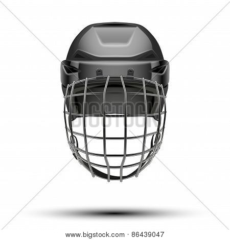 Classic black Goalkeeper Hockey Helmet isolated on Background.
