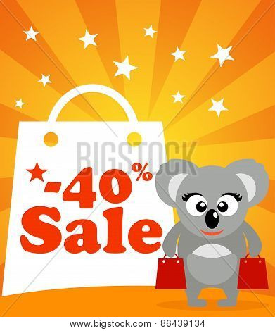 Sale poster with koala