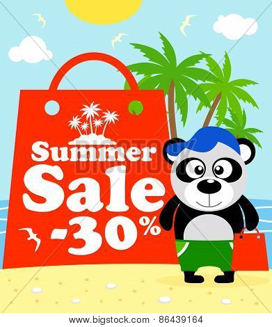 Summer sale poster with panda
