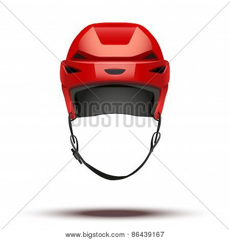 Classic red Hockey Helmet isolated on Background.