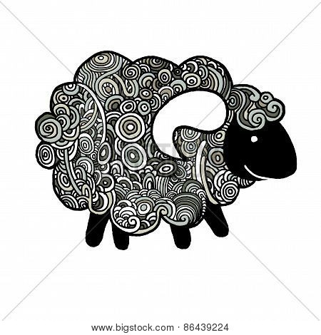 Hipster Doodle Funny Sheep