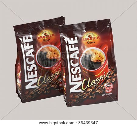 KUALA LUMPUR, MALAYSIA - March 26TH, 2015. Nescafe is a brand of instant powdered coffee made by Nestle S.A, a Swiss multinational food and beverage company, first introduced on April 1, 1938
