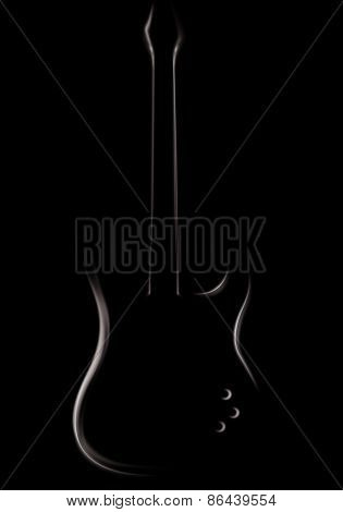 Electric guitar, bass guitar, shape, black and white