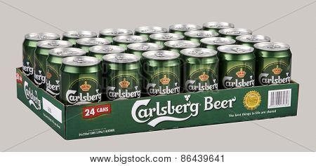Kuala Lumpur, MALAYSIA - FEBRUARY 8, 2015: 320ml can of Carlsberg lager Isolated On White Background.