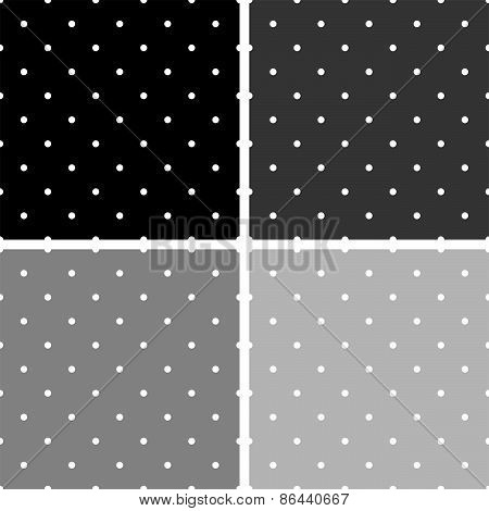 Tile vector pattern set with white polka dots on grey and black background